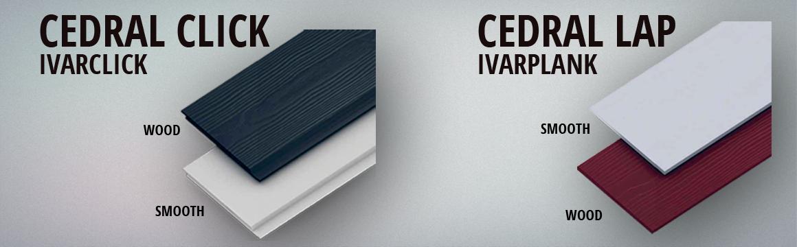 Ivarplank, Ivarclick, Cedral Click og Cedral Lap